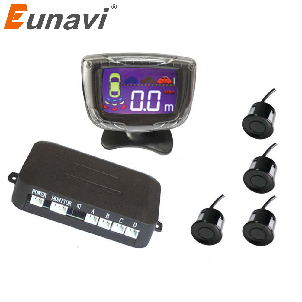 2017 Eunavi Car Parking Sensor Reverse Backup <font><b>Radar</b></font> Lcd Display 12v 4 Sensors 22mm Buzzer Auto <font><b>Detector</b></font> System Kit For All Cars