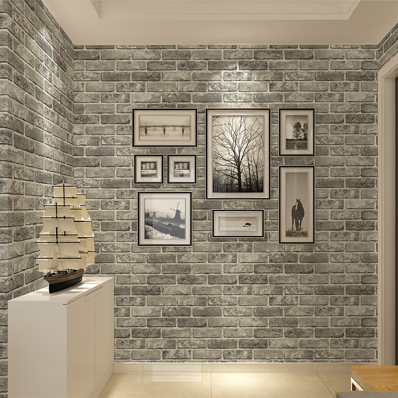 3d stereoscopic pvc embossed stone brick wallpaper vintage chinese style living room kitchen restaurant wall decor wallpaper 3 d in wallpapers from home
