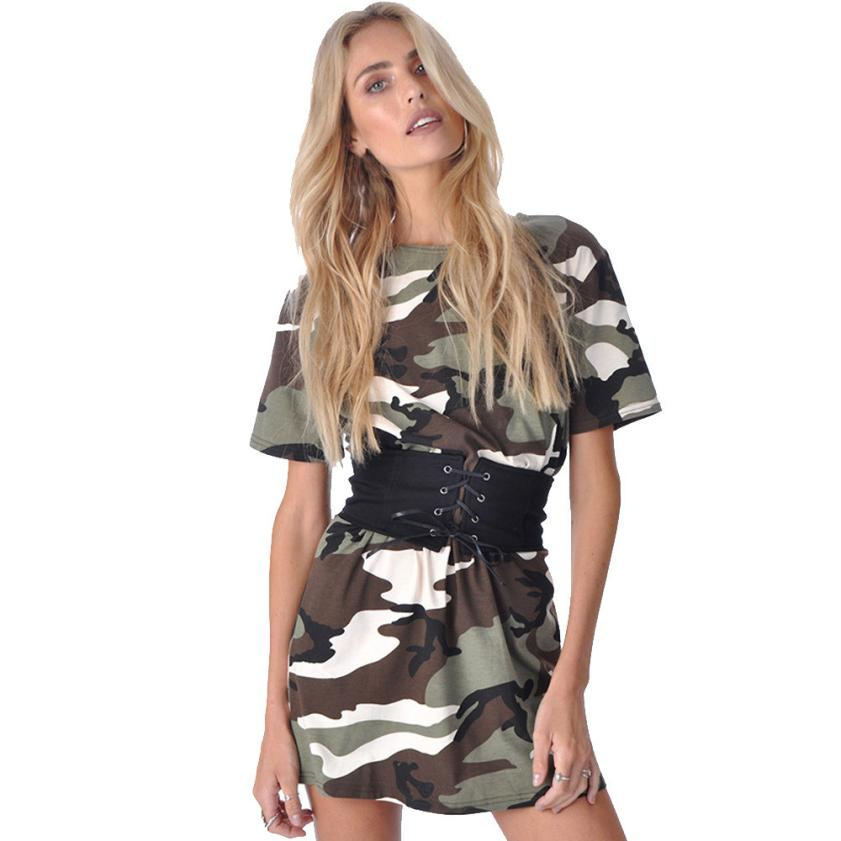 snowshine YLI Women Camouflage Short Sleeve Party Cocktail Short Mini Dress With Belt free shipping