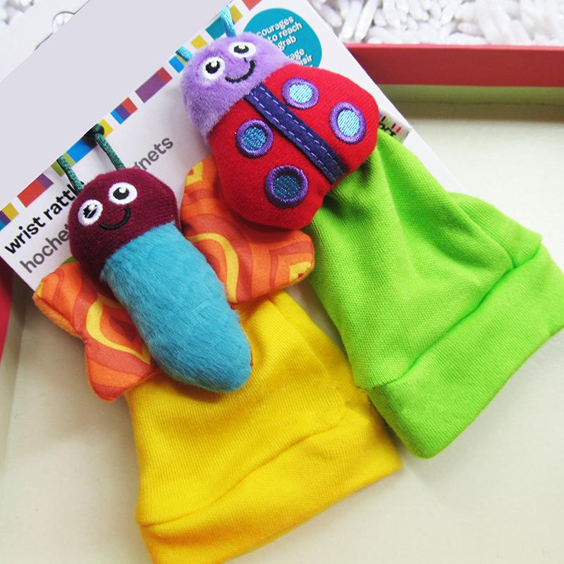 Baby Infant Soft Wrist Band Strap Cotton Cute Fashion Toy Animal Bells Foot Socks Rattles Random Color