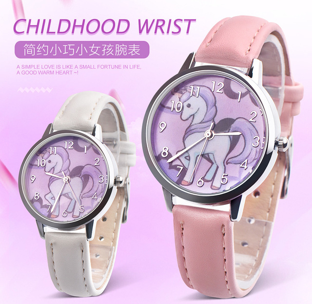 New Unicorn Watch Children watch Carton Rainbow Kids Girls Leather Band Analog A