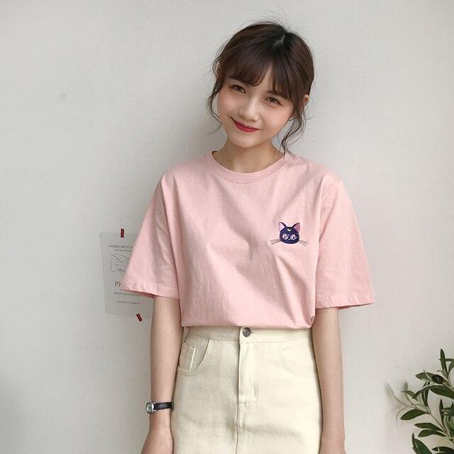 Ulzzang harajuku primavera encabeça roupas femininas 2019 verão coreano moda doce bordado gato dos desenhos animados da lua do vintage t shirt mulheres