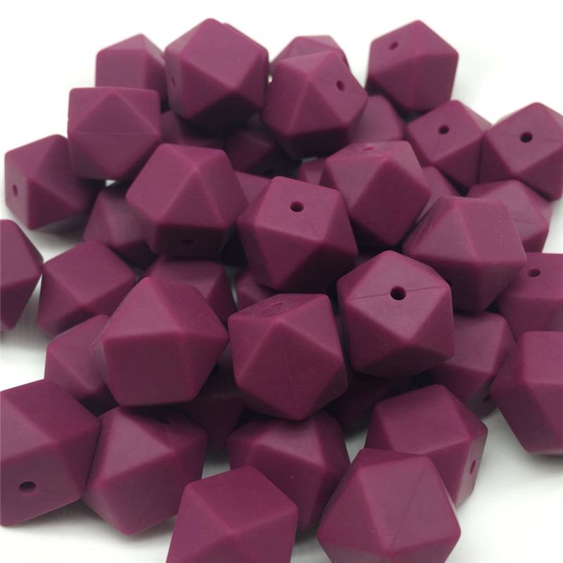 10 Stücke Rotwein 17mm Silikon Hexagon Perlen Baby Zahnen Kautable Beißringe Hexagon Diy Schnuller Kette Leine Dekoration Bpa Freies