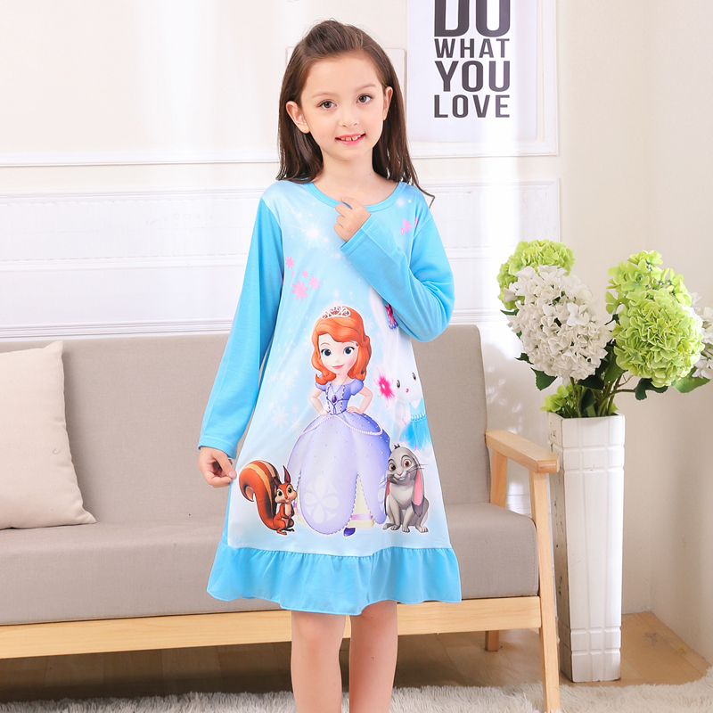 2863ee6d7e7bc Girls nightdress new 2018 summer fashion princess cartoon dresses ...