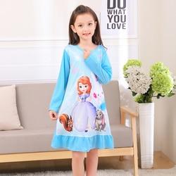 Girls nightdress New 2017 Autumn Fashion Princess cartoon Dresses kids sleep Dress Cotton children nightgowns lovely girl gift