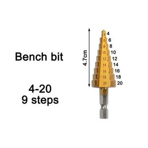 Image 3 - Hss 4241 de 4 20 4 32mm para o metal de madeira de aço da chapa metálica com caixa de alumínio hss titânio hex cortador de furo de broca de cone de passo 3 12 4 12
