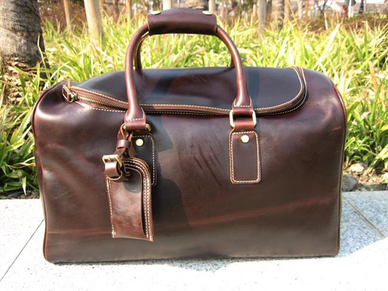 New Men S Women Vintage Real Leather Travel Bag Luggage Weekend Duffel Overnight Brown In Bags From On Aliexpress