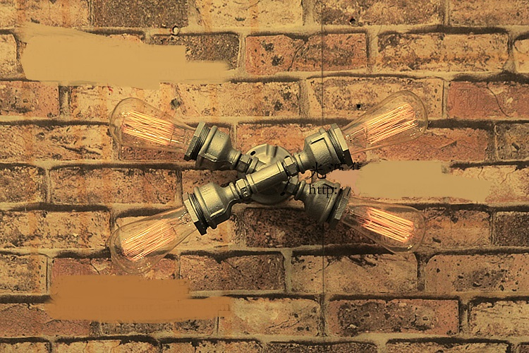 Retro European industrial plumbing wall lamp coffee house loft cross tube wall lamp m loft house loft house p 139