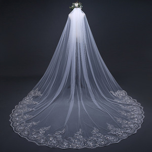 Image 2 - Mrs Win Pure White 3m Bridal Long Cathedral Veil Lace Edge Appliqued One layer Comb Veu De Noiva Mariee 2018 Length Customize C