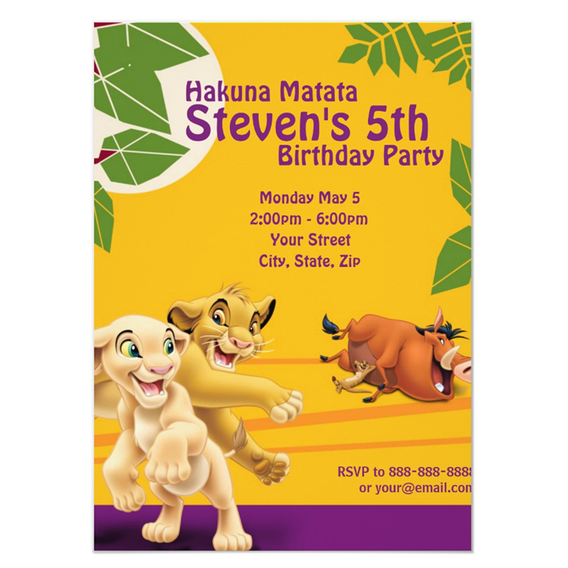 Us 9 99 Personalized Lion King Birthday Party Invitation Birthday Party Supplies Birthday Party Decorations Kids Event Birthday In Cards