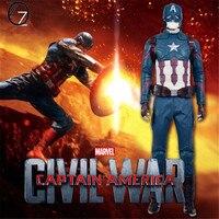 Новый Капитан Америка 3 гражданская война Капитан Америка Deluxe Косплэй костюм Для мужчин наряд на Хэллоуин Косплэй костюм
