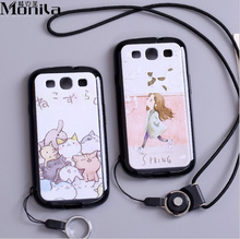 For Samsung Galaxy S3 Case Cartoon Eiffel Tower Matte TPU Soft Case For Samsung S3 Silicone Case Cover Black + Lanyard