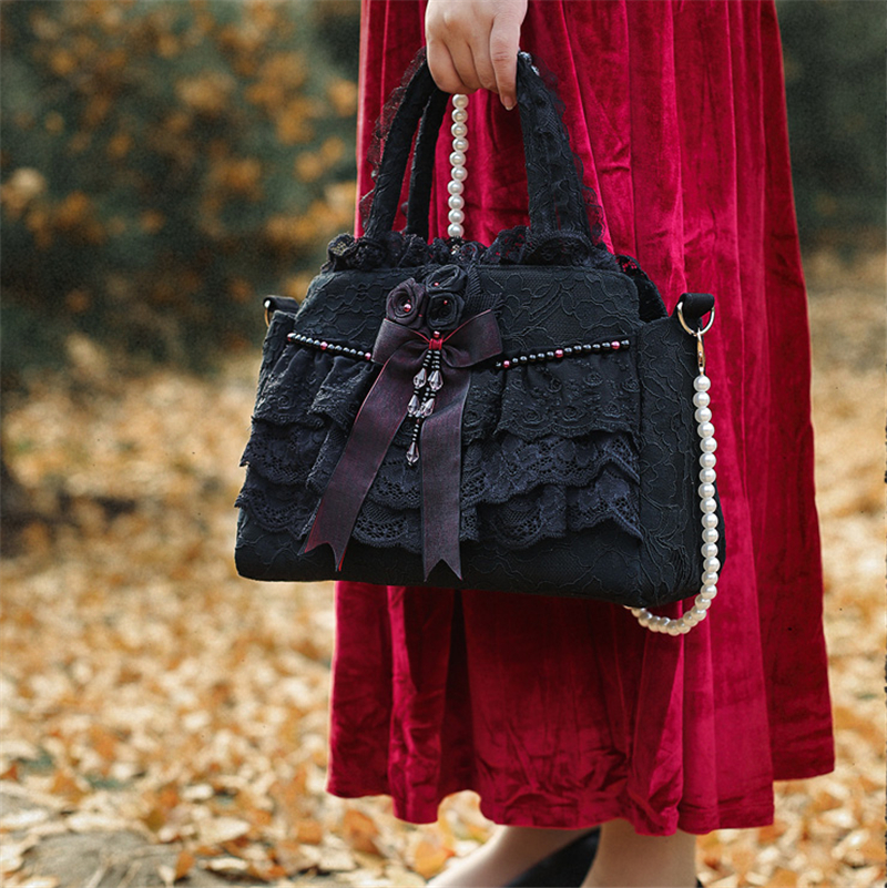 Women Totes Lace Shoulder Bags Floral Lolita Bags Bow Tie Women Bride Wedding Bags Handmade Gothic
