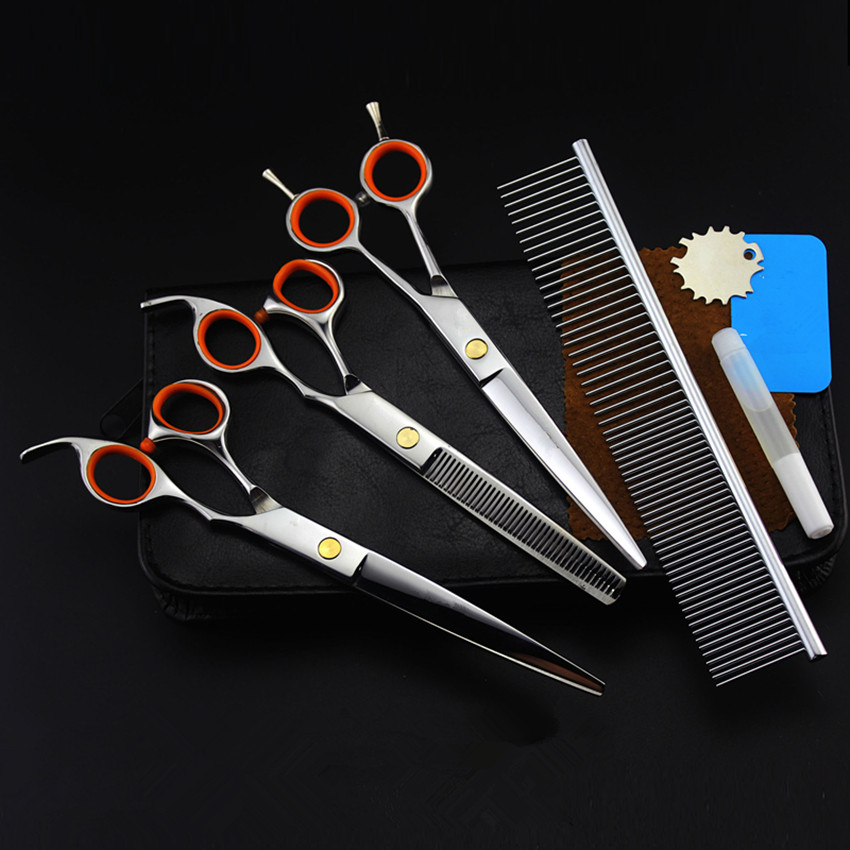 4 kits Professional 440c pet 7 inch shears cutting hair scissors set dog grooming clipper thinning barber hairdressing scissors