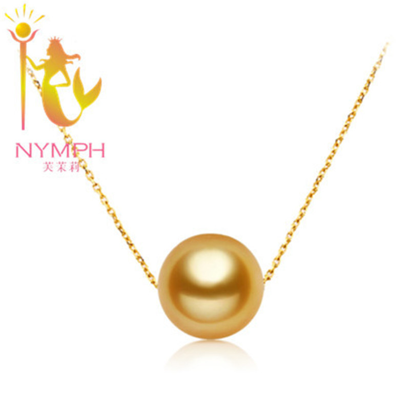 NYMPH genuine high quality 9 10 mm round golden south sea pearl necklace&pendant with real 18 k gold style[simple love