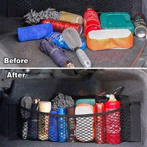 Image 2 - Sac de rangement, coffre en filet pour voiture, organiseur en filet de rangement universel de marchandises, en maille, accessoires automobiles, sac de poche pour voyage en réseau