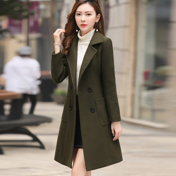 VogorSean Women Winter Wool Coats Warm 2018 Slim Fit Fashion Casual Office Lady Blends Womans Coat Jacket Khaki Plus Size New 1