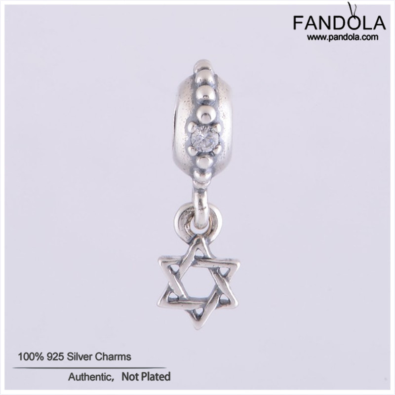 Star of David Dangle Charms Fit Pandora Snake Bracelets Silver 925 Original Beads DIY Jewelry Making for Women Promotion