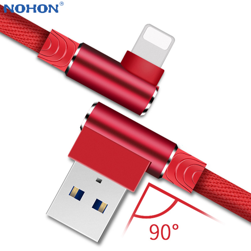 Origin 90 Degree Charger Cable For iPhone 6 S 6S 7 8 Plus 5 5S SE X XR XS Max iPad i Phone Long 2M 3M Fast Charge Data USB Cord|Mobile Phone Cables|   - AliExpress