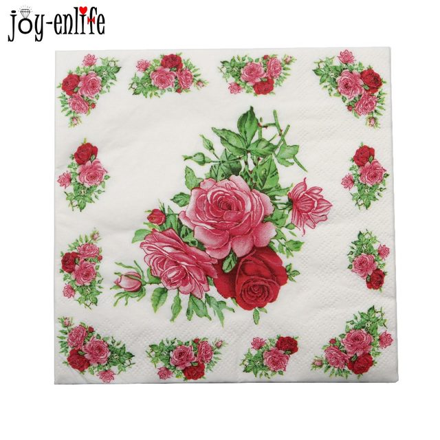Online Shop 20pcs/bag Paper Napkin Rose Flower servilletas decoupage ...