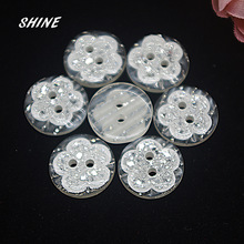SHINE Resin Sewing Button Scrapbooking Round Flower Two Holes 15mm Dia. 50 PCs Costura Botones decorate bottoni botoes