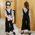 clothes set girls 2017 new spring kids fashion modern striped V collar strap wide leg overall pants suit girls trendy clothing
