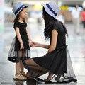 Verano de la Familia Ropa A Juego Vestido de Encaje Negro de La Vendimia Madre Hija Vestidos de Algodón de Manga Corta Una Línea de Vestido de Las Muchachas