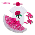 YK&Loving Baby 1 st Birthday Clothing Set Girls White Romper Tutu Polka Dot  Skirt 4 Pcs Sets Newborn Girl Clothes Lolita F5023