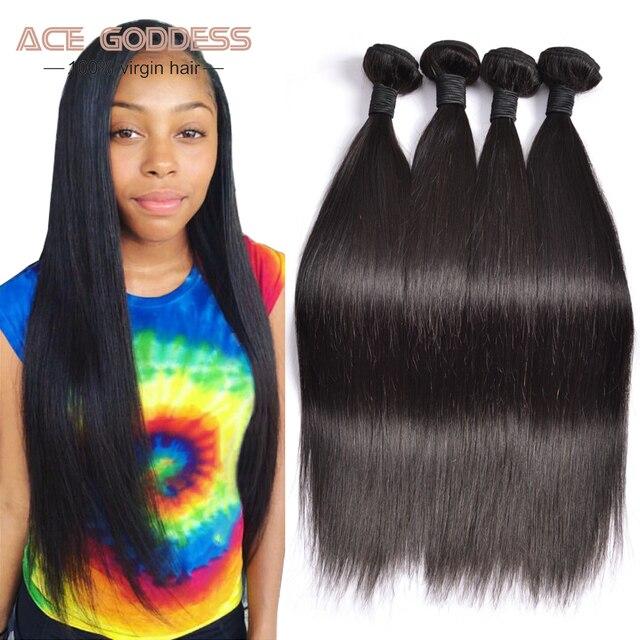 Peruvian Virgin Hair Straight 4 Bundles Peruvian Straight Hair 7a