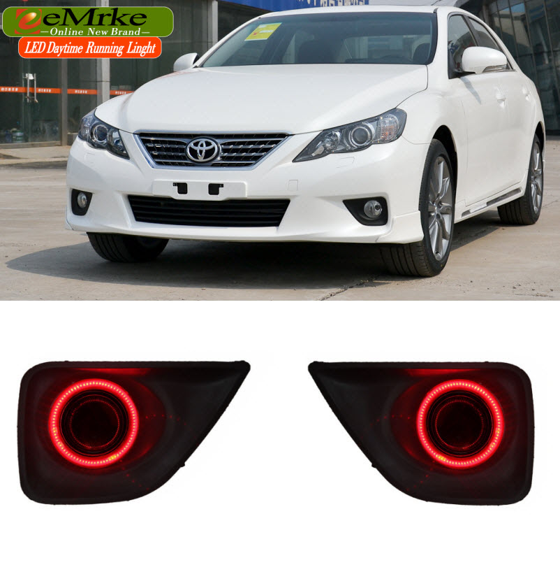 eeMrke COB Angel Eyes DRL For For Toyota Reiz Mark X 2010-2012 Fog Lights H11 55W Halogen LED Daytime Running Lights Kits eemrke for toyota vios yaris belta 2007 2013 led angel eye drl daytime running light halogen yellow h11 55w fog lights