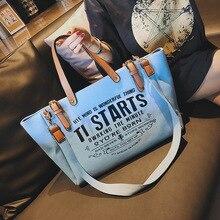 Синяя Женская сумка в европейском и американском стиле холщовая модная Большая вместительная сумка-тоут с буквенным принтом
