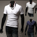 2015 New Fashion Casual Men's Solid Color Short-sleeved Polo Shirt Stand Collar Free Shipping Drop Shipping Plus Size