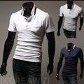 2015 Nueva Moda Casual Color Sólido de Los Hombres Camisa de Polo de manga Corta Cuello alto Envío de La Gota Más tamaño