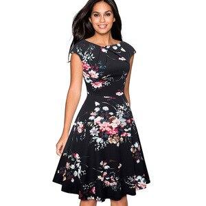 Image 4 - Nice forever Elegant Vintage Floral Printed Party vestidos Cap Sleeve A Line Female Flare Swing Women Dress btyA067