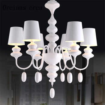 Creative personality pastoral style iron Chandelier living room bedroom restaurant warm children's room white Chandelier crystal chandelier living room lamp pastoral mediterranean bedroom restaurant candle chandelier blue european princess lamp