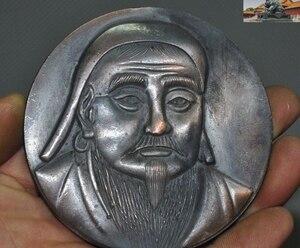 Старинный Китай, великолепная бронзовая монгольская статуя чэнгхиса Хана, памятные монеты