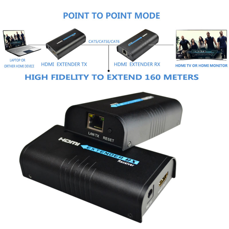 Mirabox HDMI repeater HDMI extender can extend 120m(393ft) by Rj45 cat5/cat5e/cat6 support 1080P can work like HDMI splitter hdmi extender rj45