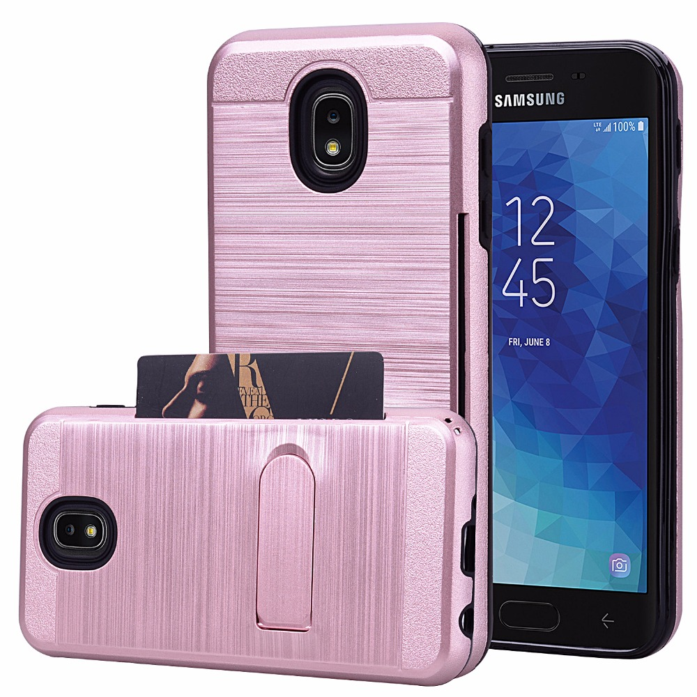 For Samsung Galaxy J3 2018J3 AchieveJ3 Express Prime Heavy Duty Hybrid Shockproof Armor Case With stand Kickstand Card holder