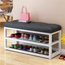 Табурет для хранения обуви с металлическим каркасом, стойка для обуви для гостиной, простая сменная скамья для обуви, органайзер, льняная/Кожаная подушка, шкаф для обуви