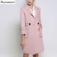 Autumn Trench Coat Pink Turn-down Collar Three Quarter Sleeve Sashes Pocket Women's Clothes Spring Outerwear Tops Plus Size 5XL