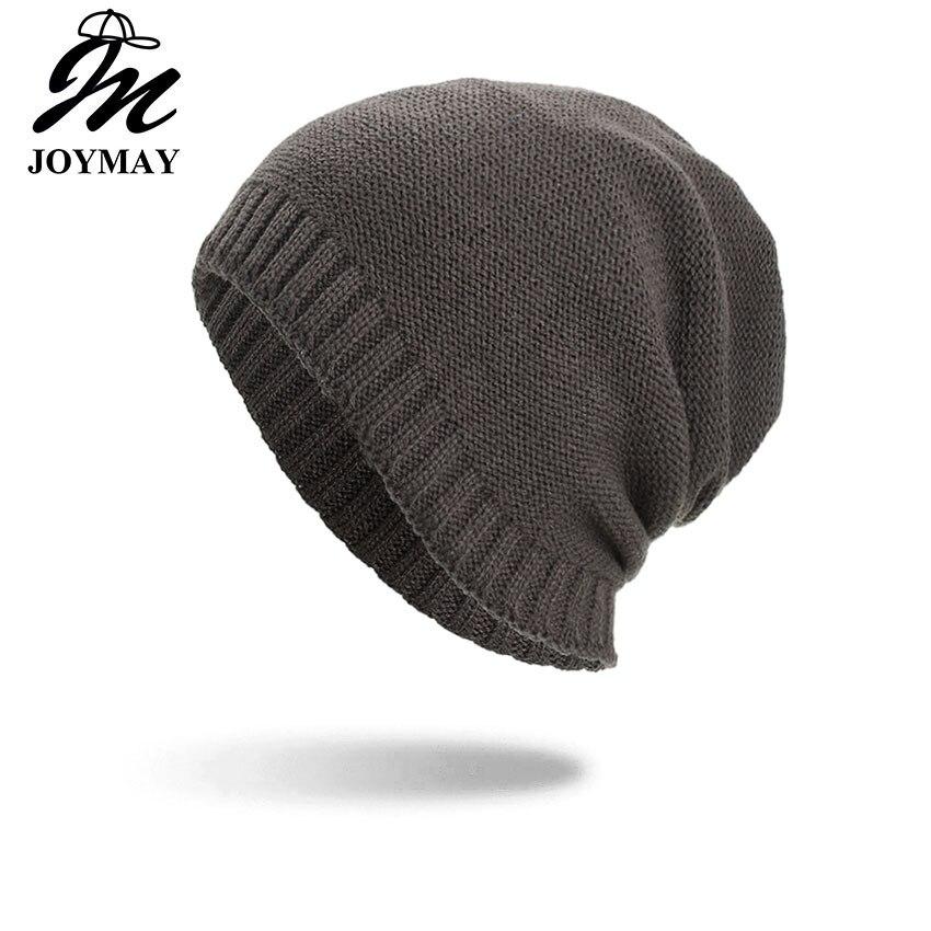 Joymay 2018 dos vías llevaba sombrero gorros de invierno desordenada Color Unisex llano cálido suave cráneo casquillo que hace punto sombreros al por mayor WM092