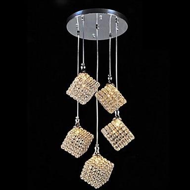 Unique carré cristal CONDUIT Pendentif lampe 5 Lumière Livraison gratuite pendentif lumières