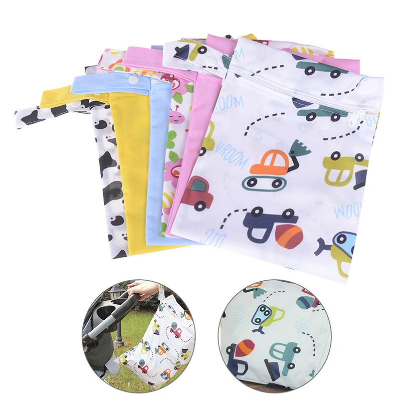 Waterproof Reusable Wet Bag Printed Pocket Nappy Bags PUL Travel Wet Dry Bags Mini Size 20x25cm Diaper Bag