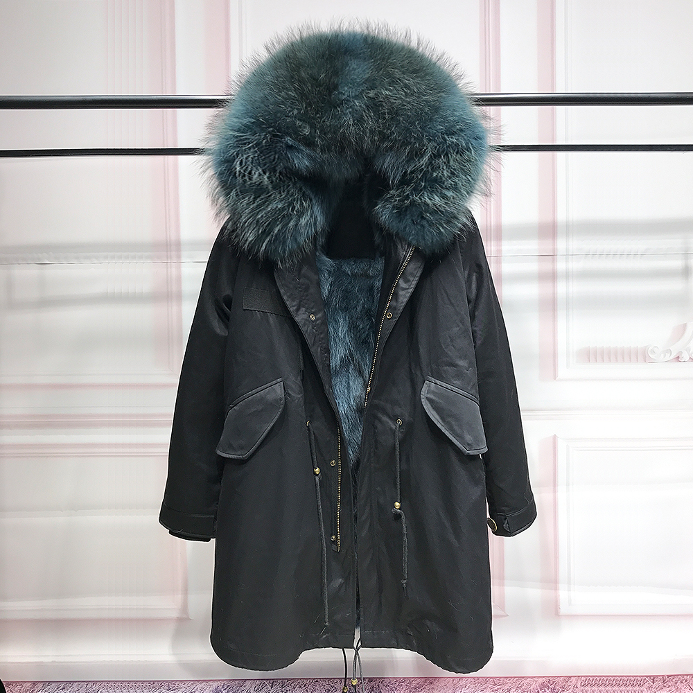 New 2017 long winter jacket women outwear thick parkas raccoon natural real fur collar coat hooded real warm fox fur liner Black 2017 winter new clothes to overcome the coat of women in the long reed rabbit hair fur fur coat fox raccoon fur collar