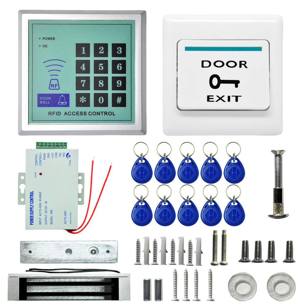 RFID Access Control System DIY Kit Glass Door Gate Opener Set Electronic Magnetic Lock ID Card Power Supply