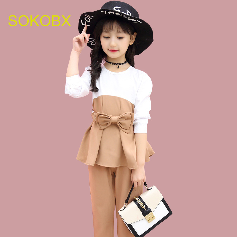 SOKOBX Kids Outfits For Teenage Girls Long Sleeve Clothes Sets Girls School Shirts & Pants Suits Big Size Children Clothing Sets