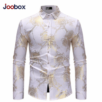 Fashion Floral Print Dress Shirt Mens Stand Collared Top Gold Luxury Rose Europe US Size Flower Hippie Club Dance Shirt white