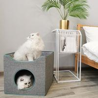 Cat Bed Cube Foldable Cat House Stackable Bed Nordic Style Two layer Villa Cat Cave House For All Seasons