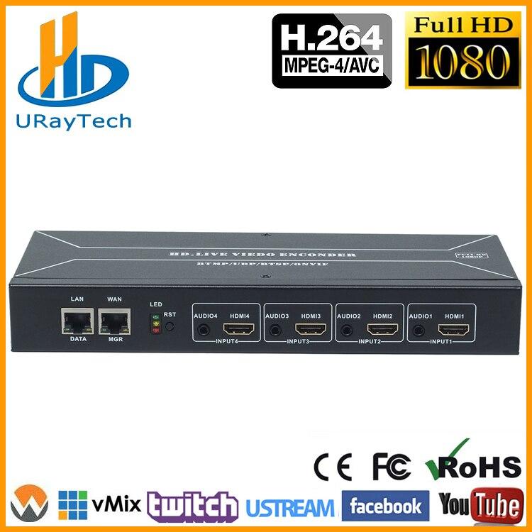 MPEG-4 H.264 HDMI À IP Vidéo Encodeur de Flux En Direct Streaming HD Vidéo IPTV Codeur 4 Canaux HDMI À HTTP RTSP RTMP Codeur H264