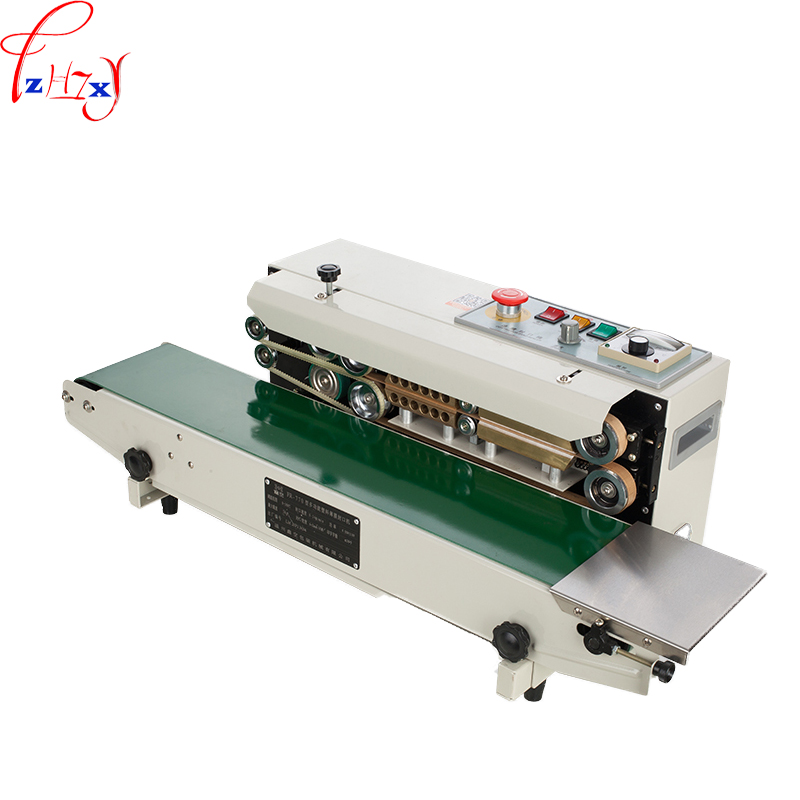 Continuous film sealing machine plastic bag package machine band sealer horizontal heating sealing machine FR-770 automatic continuous plastic film sealing machine for food cosmetic potato chips dbf 1000 110v 60hz